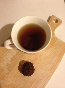 Raw cacao fudge ball is even yummier with a strong peppermint tea