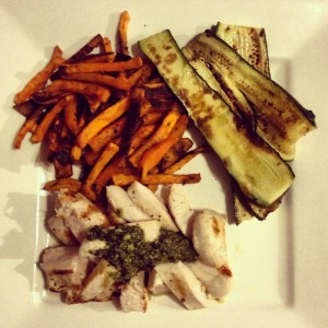 Delicious served with grilled chicken, homemade pesto and grilled zucchini