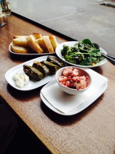 Vine leaves, broccoli salad, grilled octopus & delicious fresh bread from one of Fitzroy's best