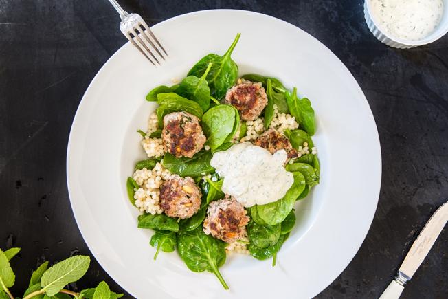 Lamb Meatballs & Couscous Salad | Nadia Felsch